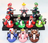 Set Of 10pcs Super Mario Bros 2 Kart Pull Back Car Figure Kid's Toy Gifts