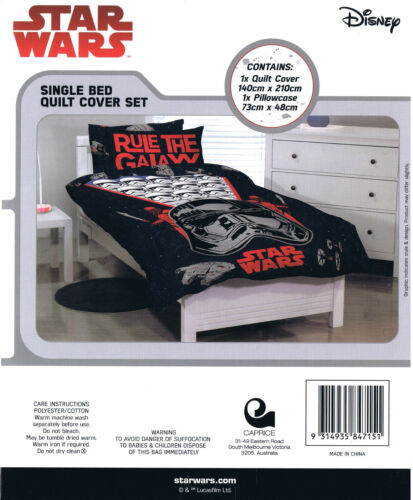 Star Wars Rule the Galaxy Single//US Twin Bed Quilt Doona Duvet Cover set