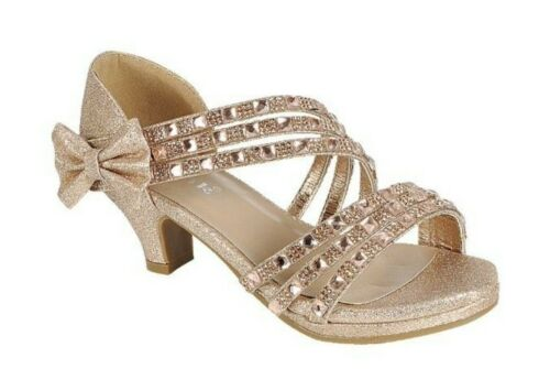 Girls/' Wedding slip on Wedge heel party prom shoes glitter rhinestone