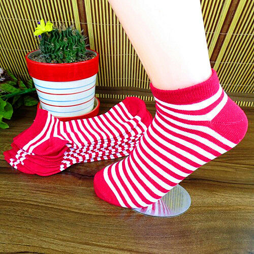 New 1Pairs Red and White Women Stripes Fashion Pure Cotton Ship Socks 21CM BWZ26