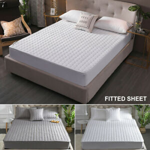 Cotton-Mattress-Pad-Cover-Topper-Protector-Quilted-Fitted-King-Queen-Full-Twin