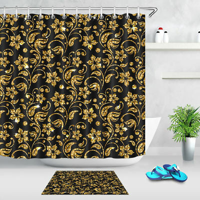 Black Leather Gold Pattern Shower Curtain Liner Bathroom Mat Waterproof Fabric