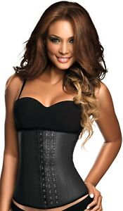 Ann Chery 2021 Clasica 3 Hook Faja Waist Trainer Shaper Black Latex Girdle * L