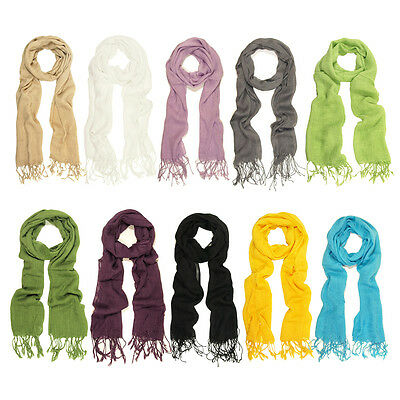 White TrendsBlue Elegant Solid Color Viscose Fringe Scarf Different Colors Available