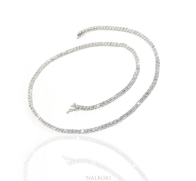 ARGENTO 925 COLLANA COLLIER TENNIS DONNA GRIFFE 2,5 mm ZIRCONI BIANCHI BRILLANTE