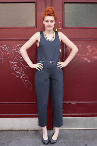 Vintage Damen anni Young True Tuta 90er Fashion Shop '90 Grau Overall Donna Grigio qTAFS