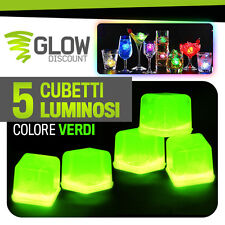 5 CUBETTI GHIACCIO FLUO LUMINOSO VERDI glow starlight bicchieri luminosi 15026