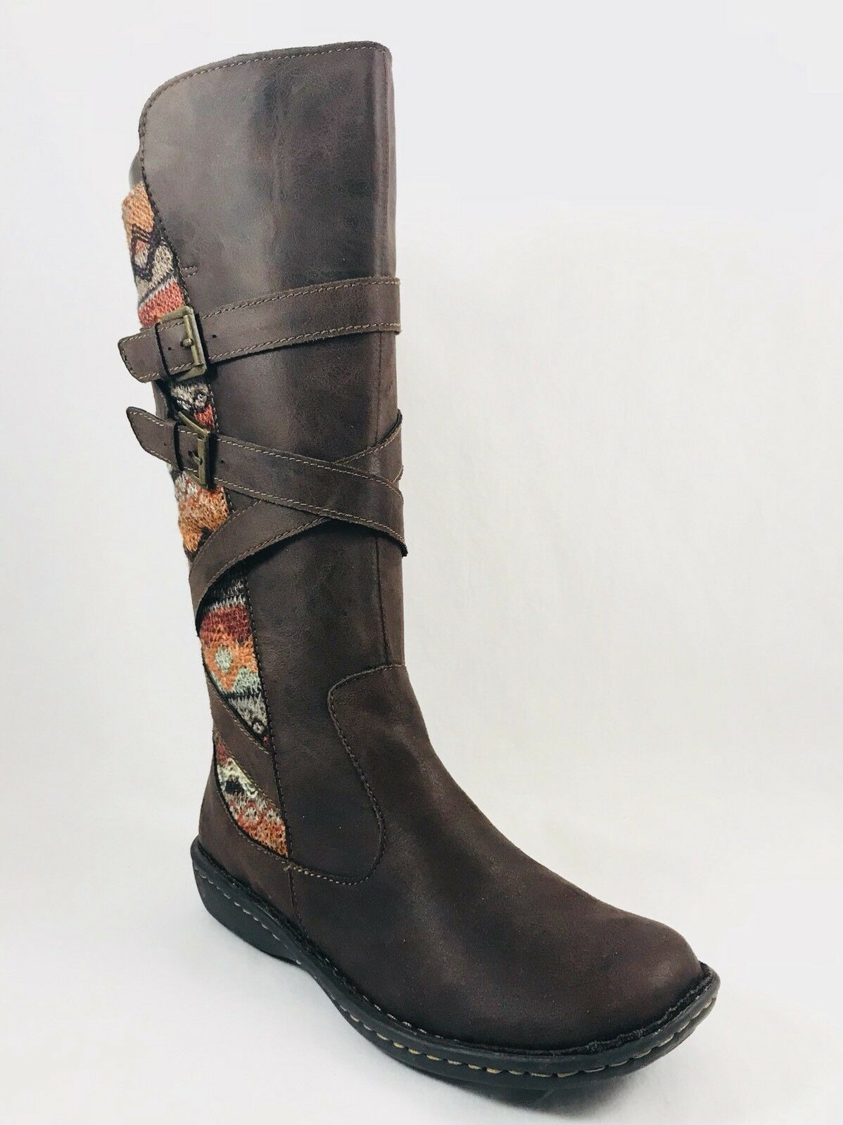 Born Concepts B.O.C. Marghera Mid Boots Side Zip Dark Brown Womens Sz 6.5