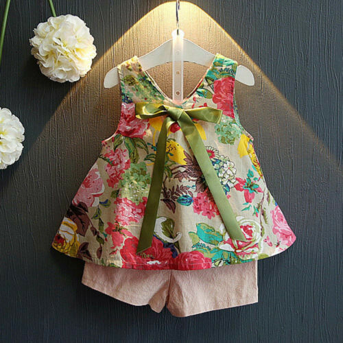 2PCS Toddler Kids Baby Girl Floral Shirt Tops+Shorts Pants Outfit Clothes Set US