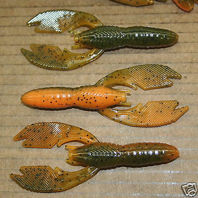 "4/"" Craw Craw Orange Hollow Body 50 count bag bulk plastic Craw worm"