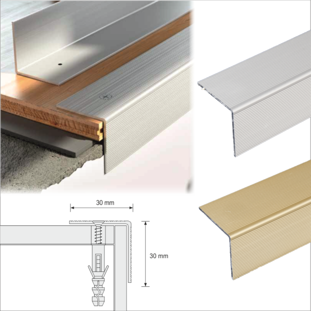 1.82m ALUMINIUM STAIR NOSINGS STEP EDGE NOSING FOR LAMINATE,  WOOD,CARPET,30x30mm