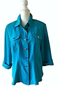 SAG HARBOR Jewel Tone Teal Collared Blouse Silver Buttons Shoulder Pads Size 10
