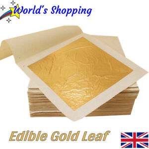 Edible-Gold-10x-Edible-Gold-Leaf-Sheets-24-Carat-Pure-Gold-Leaf-UK-Dispatch
