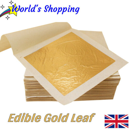 10x Comestible Feuille d/'Or Feuilles Edible Gold 24 ct Pure Gold Leaf-UK Envoi