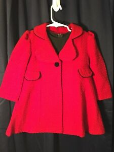Bonnie-Baby-3T-Girls-Dress-W-Matching-Coat-Black-Red-BG209-60s-Style-See-Pics