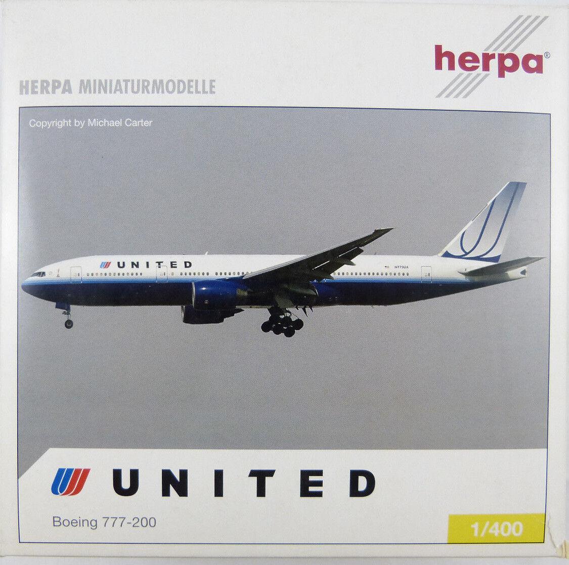 Boeing 777-200 United n775ua Herpa 561020 1 400 dans neuf dans sa boîte