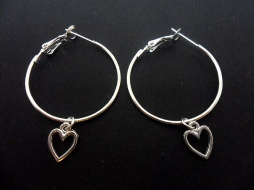 "A PAIR OF SILVER PLATED  LARGE 30MM 1/"" HOOP /& HEART  EARRINGS NEW."