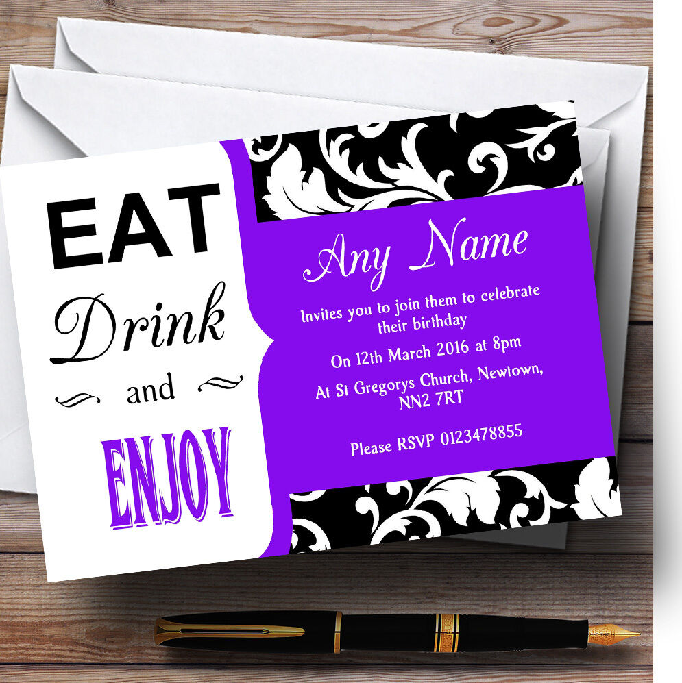 lila Vintage Damask Eat Drink Personalised Birthday Party Invitations