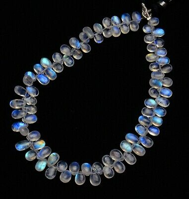 Fine Quality 6 Inch Long Strand 8-12mm Size,GORGEOUS Item Blue Flashy Rainbow Moonstone Smooth Pear Shape Briolettes
