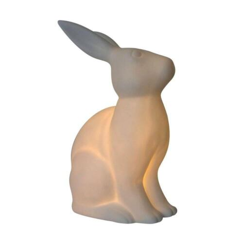 White Porcelain Bunny Rabbit Shaped Table Lamp by  Simple Designs 10.9 in