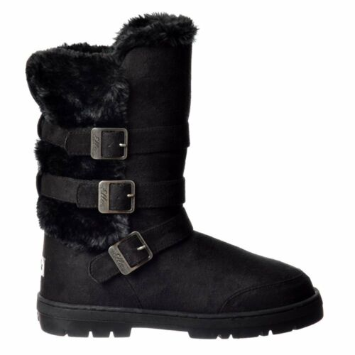 Womens Girls Buckles Straps Fur Lined Warm Flat Ella Winter Slouch Boot Size New