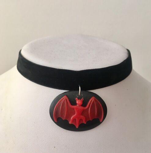 Gothic Bat Cameo Velvet Choker Necklace Halloween 90s Grunge CHOOSE YOUR COLOUR