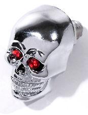 Totenkopf Skull Schrauben Kennzeichen Metall Chrom Rot small Custom Bike 25mm