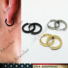 3 colors pairs men's Gold/silver/black Hip hop Stainless Steel Hoop Earrings