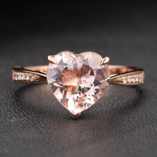 Heart Shaped 8mm Morganite and Diamonds 14K pink gold Claw Prongs Wedding Ring