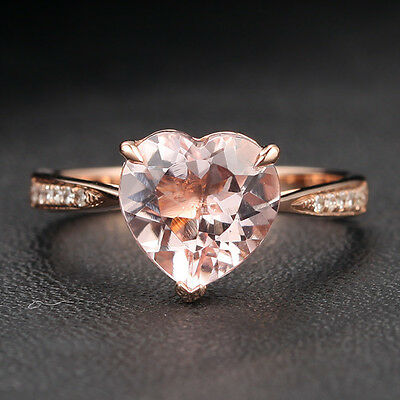 Heart Shaped 8mm Morganite and Diamonds 14K Rose Gold Claw Prongs Wedding Ring