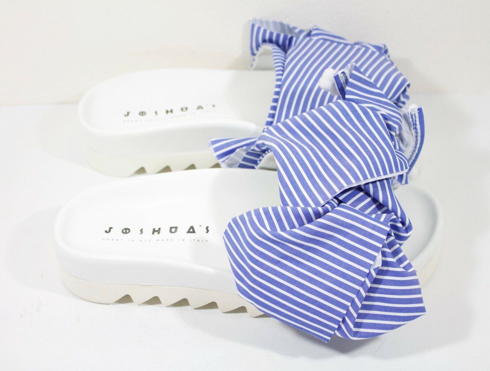 Joshua Sanders Wide Stripes Platform Bow Sandals bluee White Womens Size 38 US 8