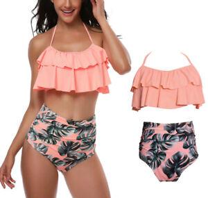 167faf4b3ba9be Image is loading Women-Retro-Flounce-High-Waisted-Bikini-Halter-Neck-