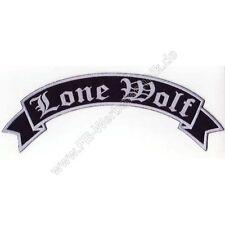 Lone Wolf  Patch 29cm Rückenaufnäher Aufnäher Biker Top Rocker GRAU gestickt