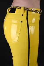 Latex Rubber Gummi Yellow and Black Fashion Handsome Pants Size XS-XXL