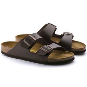 Details about Birkenstock Arizona Dark Brown (051701) Birko Flor Leather Sandal Slides Sandals