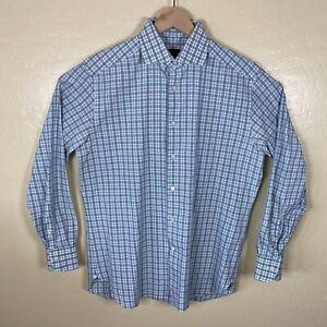 Ermenegildo-Zegna-Button-Up-Shirt-Mens-16-5-42-Green-White-Plaid-Long-Sleeve