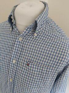 Para-hombres-Camisa-Tommy-Hilfiger-Diente-Azul-Manga-Larga-Pecho-pequeno-de-42