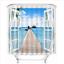 Scenery Shower Curtain Liner Bathroom Waterproof Fabric Decor Mat Set Hooks