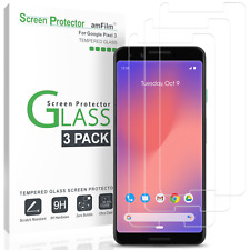Google Pixel 3 Screen Protector - amFilm Case Friendly Tempered Glass (3 Pack)