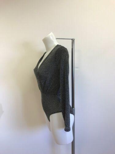 Ladies new black lurex bodysuit size 4 6 8 10
