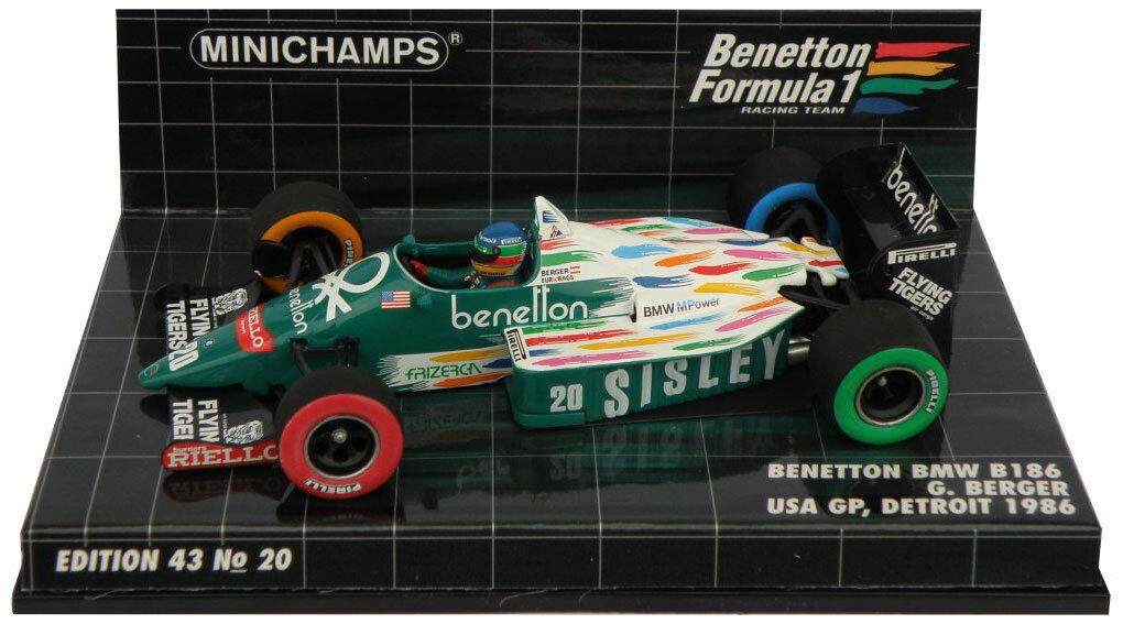 Minichamps BENETTON BMW b186   20 Gp Detroit Usa 1986-gerhard berger, échelle 1 43,
