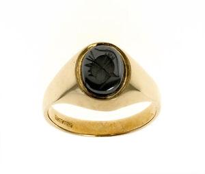 Mens Intaglio Ring Gold Signet Ring Gents 9k Gold Signet B Ham