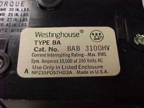 * NEW-WESTINGHOUSE 100A 3P BREAKER BAB3100HV      UU-08