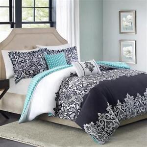 5pc Bedding Comforter Set Reversible Black White Blue