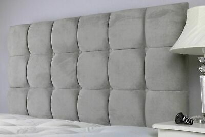 Upholstered Headboard Cube with Diamonds Buttons in Crushed velvet 20//26//30 Heights Spring Well Champagne, 3ft-20 Height