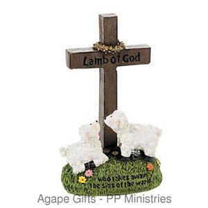 Fe Otc Christian Resin Home Decor Easter Cross Lamb Of God Figurine Ebay