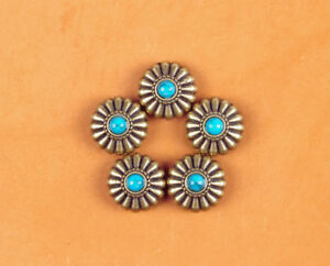 10PC-16MM-FLORAL-WESTERN-TURQUOISE-ANTIQUE-BRASS-SCREWBACK-SADDLE-DECOR-CONCHOS