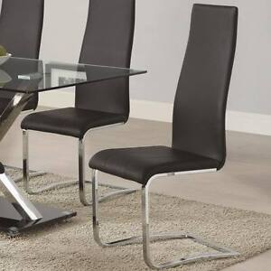 Image Is Loading Black Faux Leather Dining Chairs W Chrome Legs