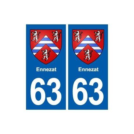 63 Ennezat blason autocollant plaque stickers ville -  Angles : droits
