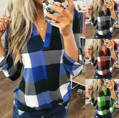 Womens Plaid Shirt V Neck Top Long Sleeves Blouse Casual Sweater Long Plus Size